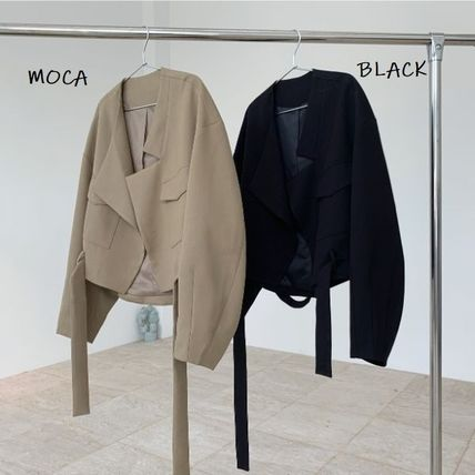 Stand Collar Coats Short Nylon Street Style Plain