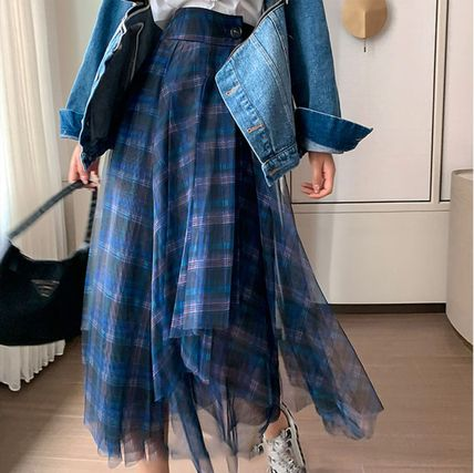Flared Skirts Other Plaid Patterns Casual Style Medium Long