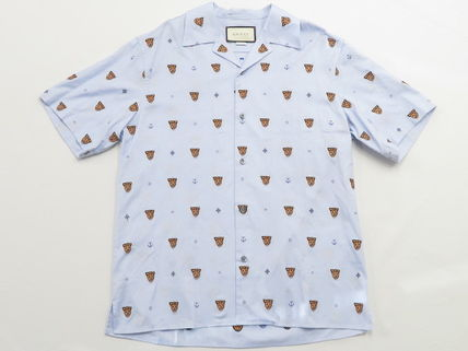 GUCCI Shirts Button-down Other Animal Patterns Cotton Short Sleeves