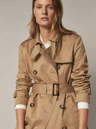 Massimo Dutti Casual Style Plain Medium Office Style Trench Coats