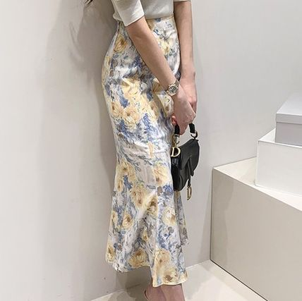 Pencil Skirts Flower Patterns Casual Style Long Midi