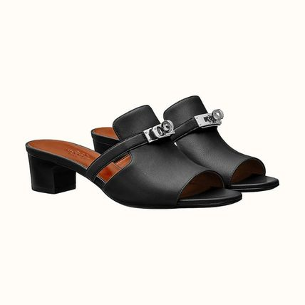 HERMES Kelly Casual Style Plain Leather Office Style Sandals