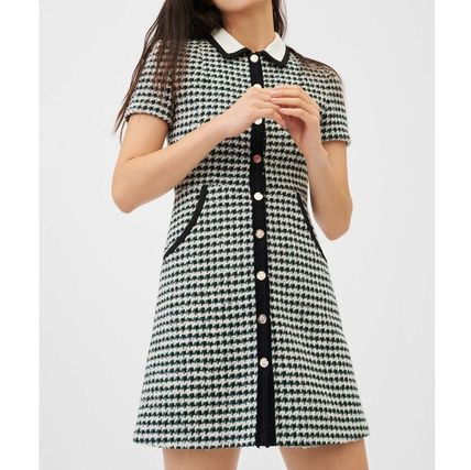 Short Casual Style Tight Tweed Blended Fabrics Bi-color