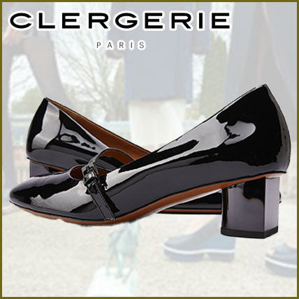 Robert Clergerie Casual Style Plain Leather Kitten Heel Pumps & Mules