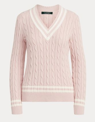 Ralph Lauren Cable Knit Casual Style V-Neck Bi-color Long Sleeves Cotton