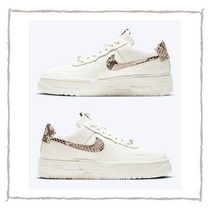 Nike AIR FORCE 1 Casual Style Blended Fabrics Street Style Plain Python Logo