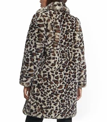 Stand Collar Coats Faux Fur Plain Other Animal Patterns Long