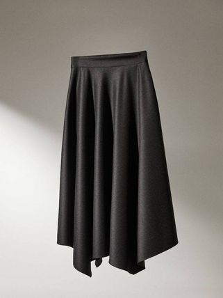 Massimo Dutti Flared Skirts Plain Medium Office Style Elegant Style