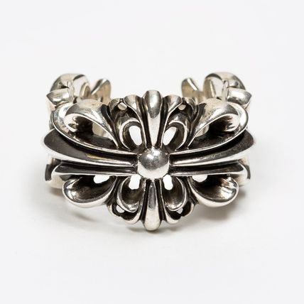 CHROME HEARTS FLORAL CROSS Unisex Street Style Silver Logo Rings