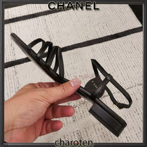 CHANEL ICON Open Toe Casual Style Plain Leather Party Style Office Style