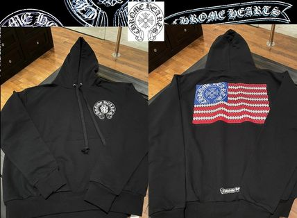 CHROME HEARTS STAR Pullovers Unisex Long Sleeves Logos on the Sleeves Logo