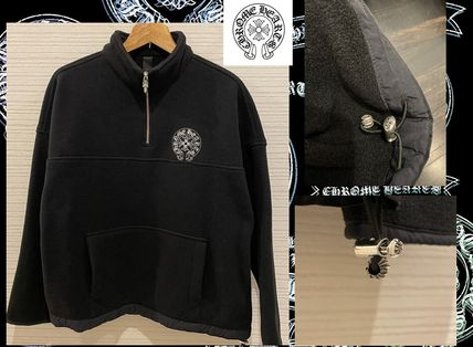 CHROME HEARTS Pullovers Unisex Long Sleeves Logos on the Sleeves Logo