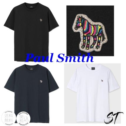 Paul Smith Crew Neck Stripes Zebra Patterns Street Style Plain Cotton