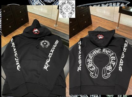 CHROME HEARTS ROLLING STONES Pullovers Unisex Long Sleeves Logos on the Sleeves Logo