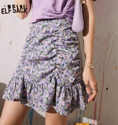 ELF SACK Pencil Skirts Short Flower Patterns Lace Bridal Mini Skirts