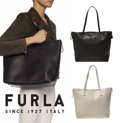 FURLA Casual Style Plain Leather Party Style Office Style