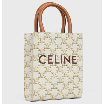 CELINE Triomphe Canvas Monogram Casual Style Calfskin Canvas 2WAY Elegant Style