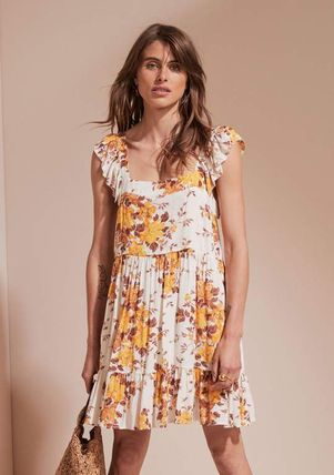 Flower Patterns Sleeveless Street Style Slip Dresses Dresses