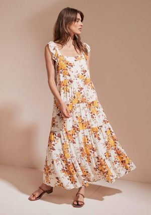 Flower Patterns Street Style Medium Dresses