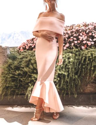 Plain Long Party Style Elegant Style Icy Color Dresses