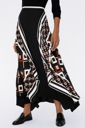 DIANE von FURSTENBERG Flared Skirts Casual Style Maxi Long Party Style