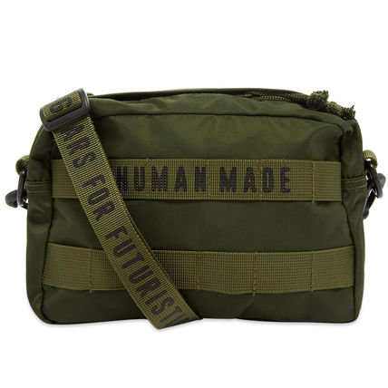 HUMAN MADE Unisex Nylon Street Style 2WAY Plain Khaki Crossbody Bag
