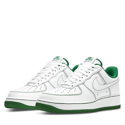Nike AIR FORCE 1 Unisex Street Style Bi-color Plain Leather Logo Sneakers