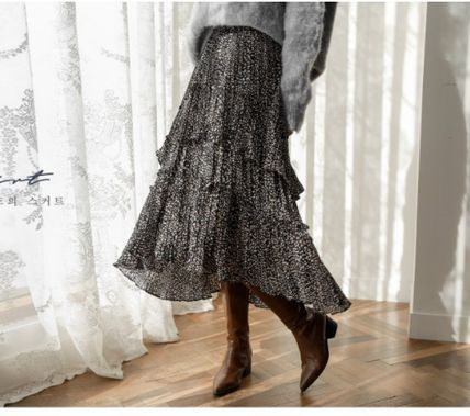 Flared Skirts Leopard Patterns Casual Style Pleated Skirts