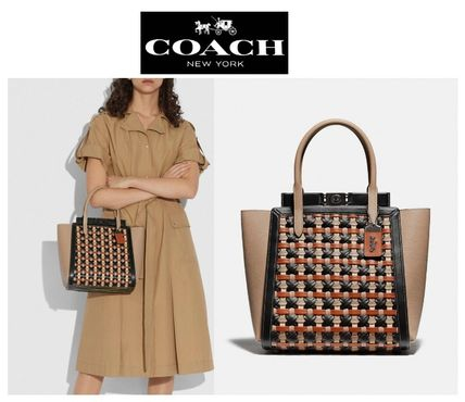Coach Casual Style 2WAY Plain Leather Party Style Office Style