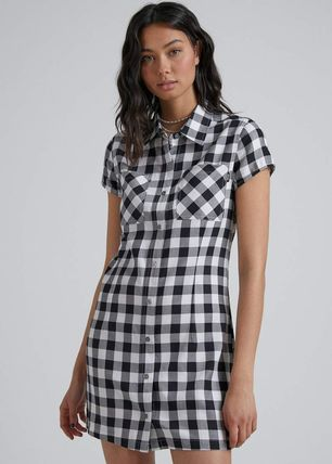 Short Gingham Casual Style Cotton Party Style Office Style