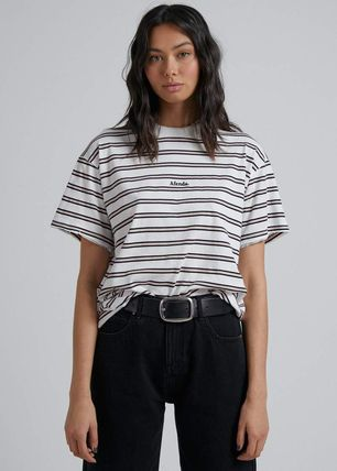 Stripes Street Style Cotton Short Sleeves T-Shirts