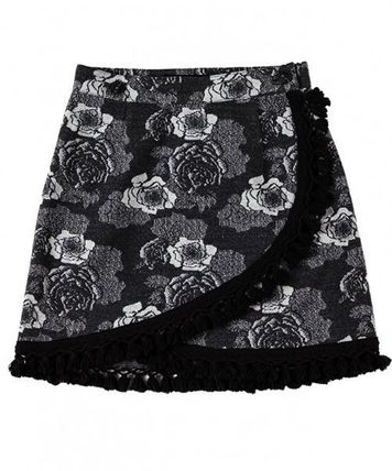 runningHIGH Logo Short Flower Patterns Street Style Mini Skirts