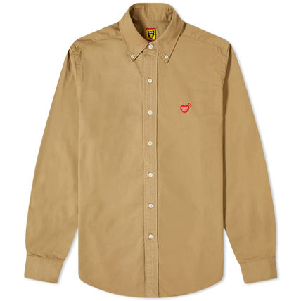 HUMAN MADE Button-down Heart Unisex Street Style Long Sleeves Plain