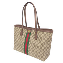 GUCCI Ophidia Canvas Bi-color Leather Elegant Style Logo Totes