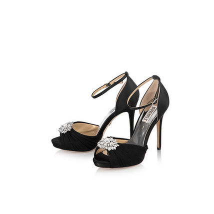 Badgley Mischka Open Toe Pin Heels Party Style With Jewels Elegant Style