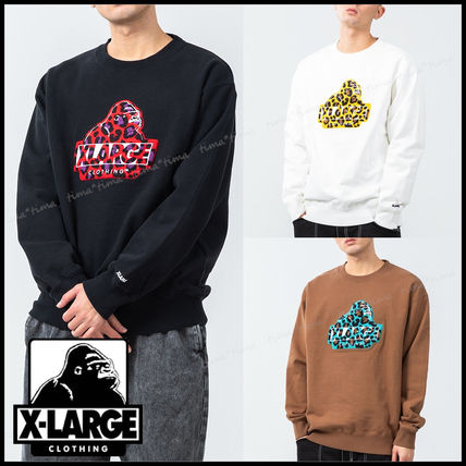 X-Large Crew Neck Leopard Patterns Street Style Long Sleeves Plain