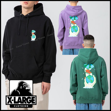 X-Large Logo Pullovers Long Sleeves Plain Cotton Street Style