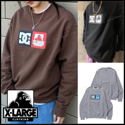 X-Large Crew Neck Street Style Collaboration Long Sleeves Plain