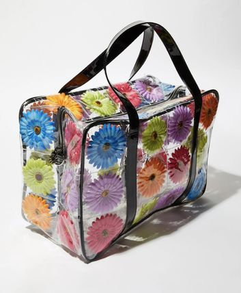 Flower Patterns A4 2WAY Crystal Clear Bags Boston & Duffles