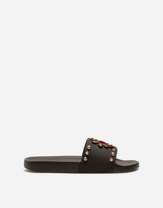Dolce & Gabbana Heart Blended Fabrics Street Style Shower Shoes With Jewels