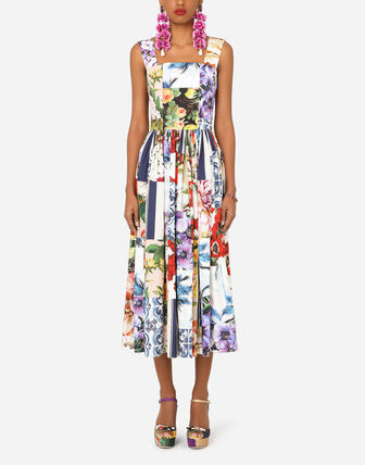 Dolce & Gabbana Stripes Flower Patterns A-line Sleeveless Flared Cotton Long
