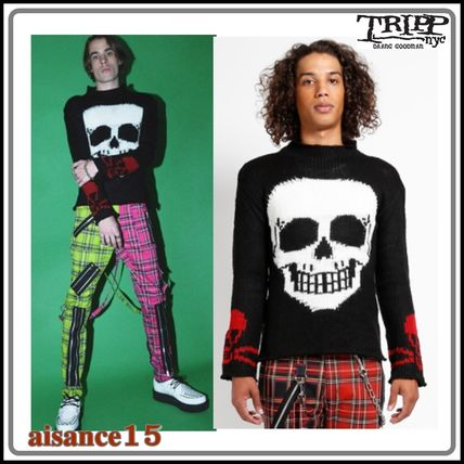 TRIPP NYC Sweaters Pullovers Skull Unisex Street Style Long Sleeves Sweaters