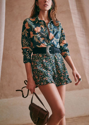 SEZANE Formal Style  Short Flower Patterns Casual Style Party Style