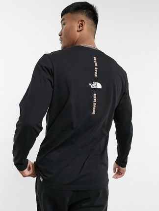 THE NORTH FACE Long Sleeve Unisex Street Style U-Neck Long Sleeves Cotton