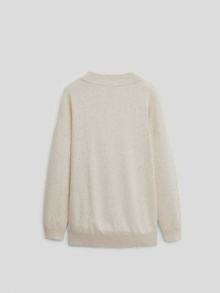 Massimo Dutti Crew Neck Casual Style Long Sleeves Plain Cotton Medium