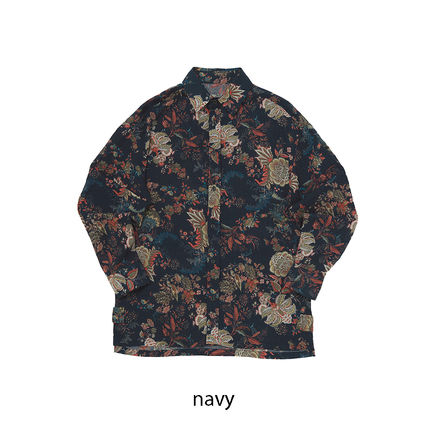 Button-down Flower Patterns Unisex Long Sleeves Cotton