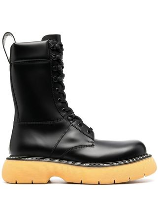 BOTTEGA VENETA Street Style Plain Leather Logo Engineer Boots