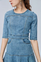 MISS SIXTY Crew Neck Casual Style Denim Flared Plain Short Sleeves