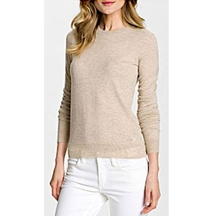 Tory Burch Logo Crew Neck Wool Long Sleeves Plain Medium