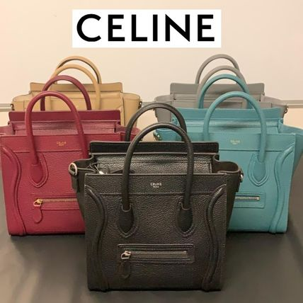 CELINE Luggage Casual Style Leather Elegant Style Handbags